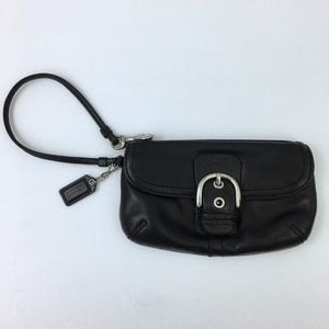 Coach Black Leather Wristlet Wallet Soft Foldover